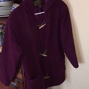 Eddie Bauer wool purple toggle jacket coat winter